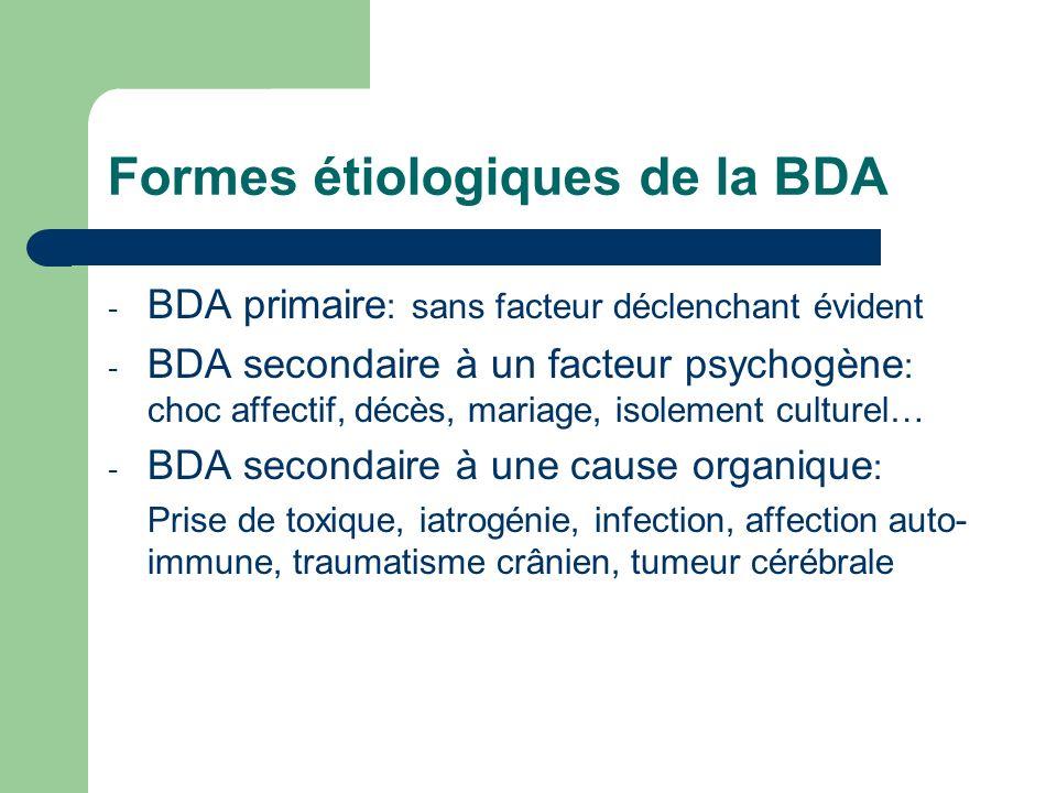 Formes étiologiques de la BDA - BDA primaire : sans facteur déclenchant évident - BDA secondaire à un facteur psychogène : choc affectif, décès, maria