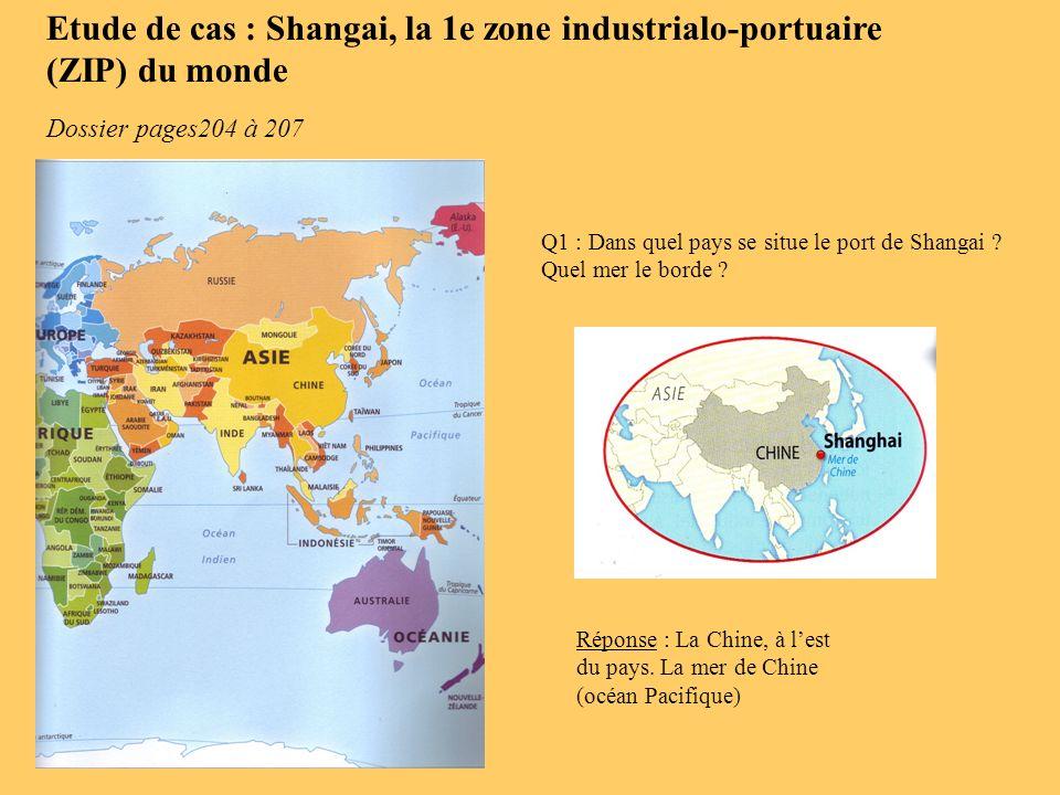 Q1 : Dans quel pays se situe le port de Shangai ? Quel mer le borde ? Réponse : La Chine, à lest du pays. La mer de Chine (océan Pacifique) Dossier pa