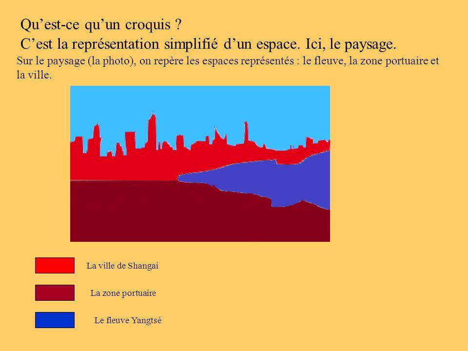Sur le paysage (la photo), on repère les espaces représentés : le fleuve, la zone portuaire et la ville. Cest la représentation simplifié dun espace.