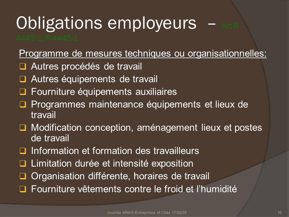 Journée ARIAS-Entreprises et Cités 17/02/0916 Obligations employeurs – Art R 4442-1/R 4445-1 Programme de mesures techniques ou organisationnelles: Au