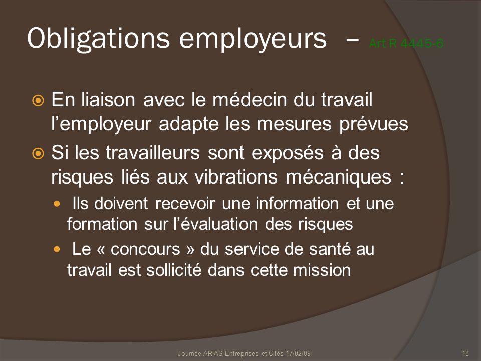 Journée ARIAS-Entreprises et Cités 17/02/0918 En liaison avec le médecin du travail lemployeur adapte les mesures prévues Si les travailleurs sont exp