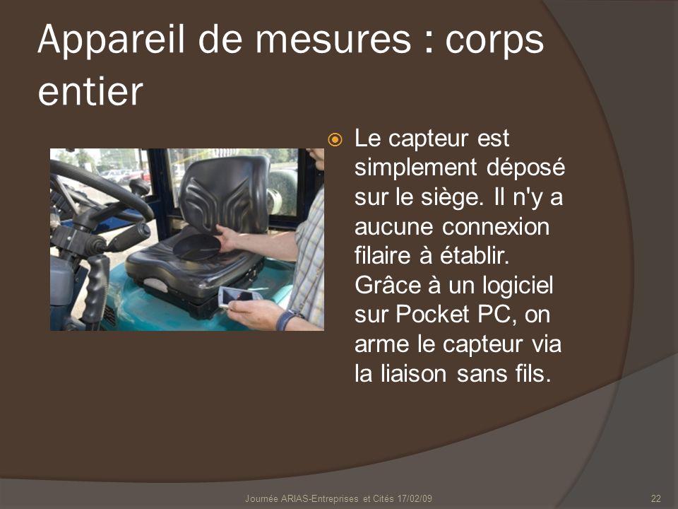 Appareil de mesures : corps entier Le capteur est simplement déposé sur le siège. Il n'y a aucune connexion filaire à établir. Grâce à un logiciel sur