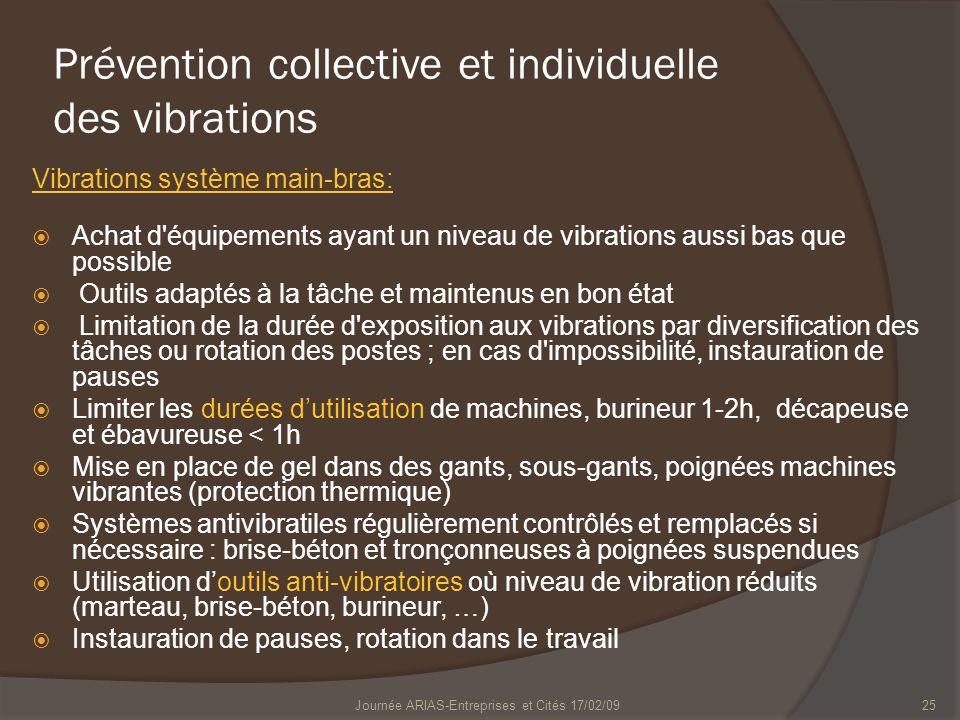 25 Prévention collective et individuelle des vibrations Vibrations système main-bras: Achat d'équipements ayant un niveau de vibrations aussi bas que