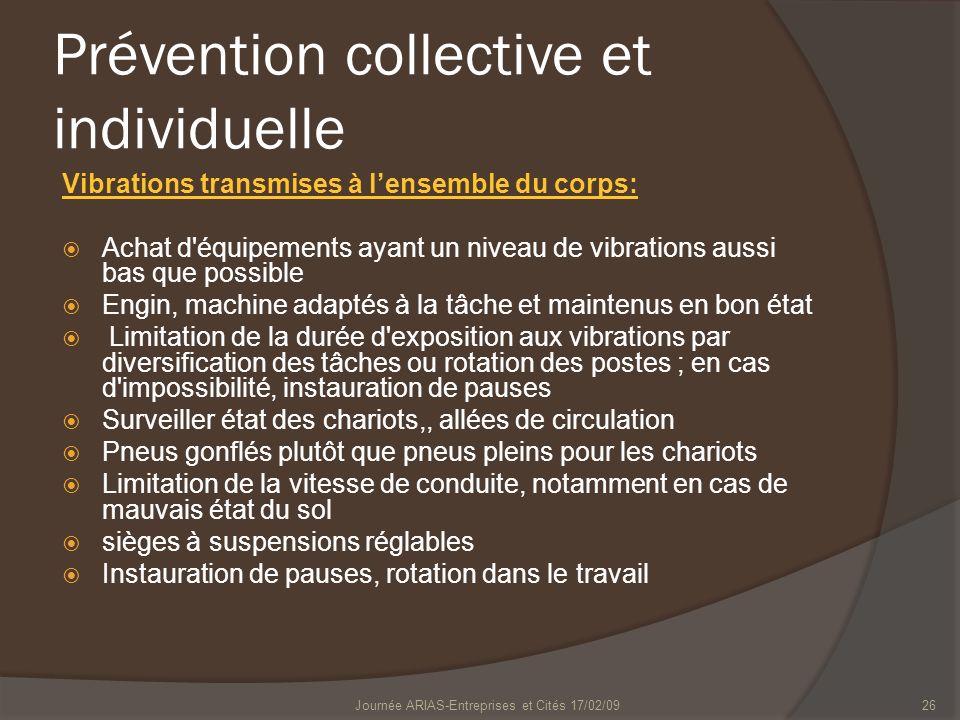 Journée ARIAS-Entreprises et Cités 17/02/0926 Prévention collective et individuelle Vibrations transmises à lensemble du corps: Achat d'équipements ay