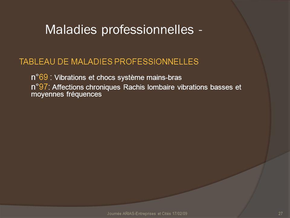 Journée ARIAS-Entreprises et Cités 17/02/0927 Maladies professionnelles - TABLEAU DE MALADIES PROFESSIONNELLES n°69 : Vibrations et chocs système main