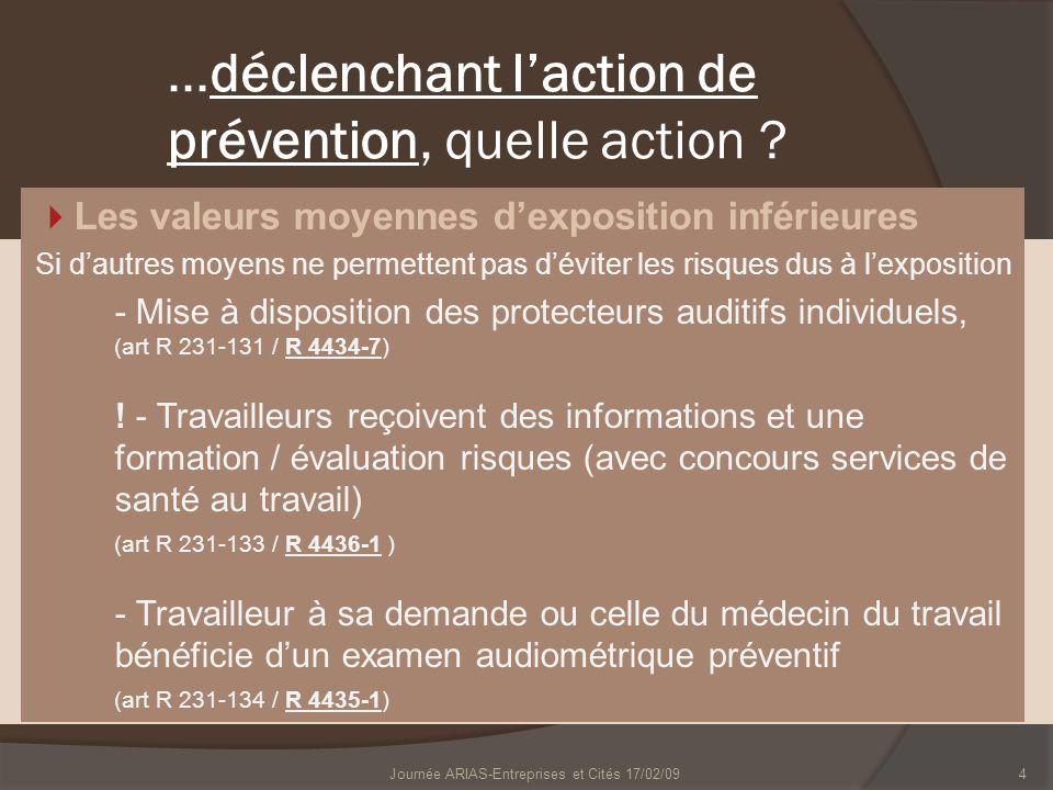 4...déclenchant laction de prévention, quelle action ? Les valeurs moyennes dexposition inférieures Si dautres moyens ne permettent pas déviter les ri