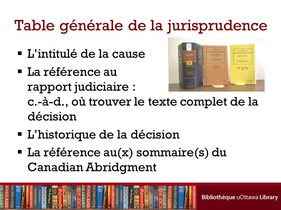 Table générale de la jurisprudence Lintitulé de la cause La référence au rapport judiciaire : c.-à-d., où trouver le texte complet de la décision Lhis