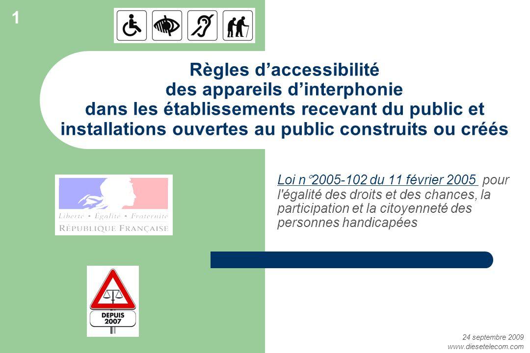 Règles daccessibilité des appareils dinterphonie dans les établissements recevant du public et installations ouvertes au public construits ou créés Lo