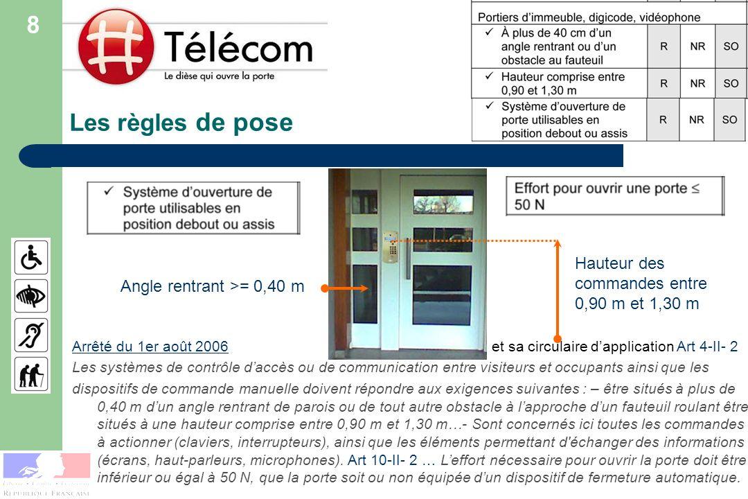 Les règles de pose Arrêté du 1er août 2006Arrêté du 1er août 2006 et sa circulaire dapplication Art 4-II- 2 Les systèmes de contrôle daccès ou de comm