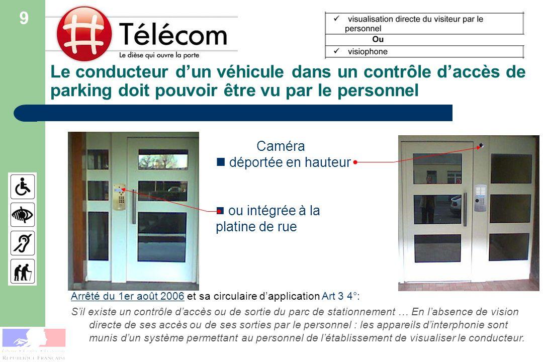 Le conducteur dun véhicule dans un contrôle daccès de parking doit pouvoir être vu par le personnel Caméra déportée en hauteur ou intégrée à la platin