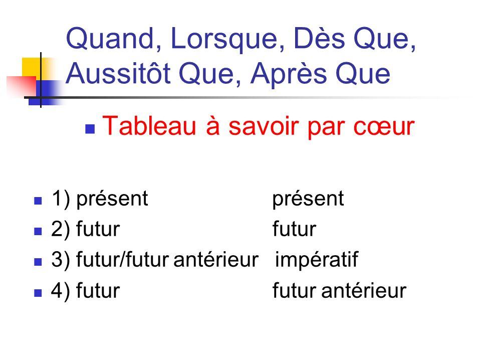 Quand, Lorsque, Dès Que, Aussitôt Que, Après Que Tableau à savoir par cœur 1) présent présent 2) futur futur 3) futur/futur antérieur impératif 4) fut
