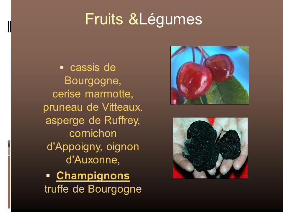 Fruits &Légumes cassis de Bourgogne, cerise marmotte, pruneau de Vitteaux. asperge de Ruffrey, cornichon d'Appoigny, oignon d'Auxonne, Champignons tru