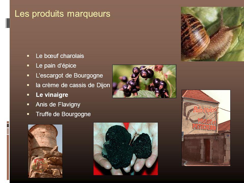 Les produits marqueurs Le bœuf charolais Le pain dépice Lescargot de Bourgogne la crème de cassis de Dijon Le vinaigre Anis de Flavigny Truffe de Bour
