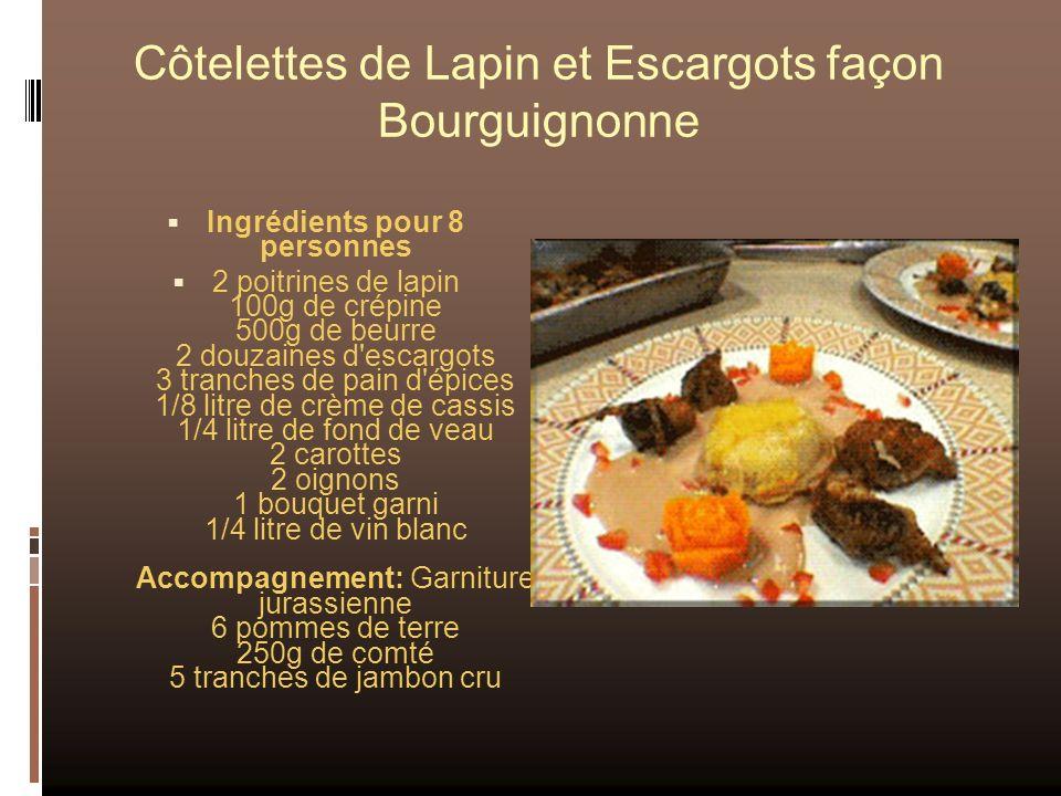 Côtelettes de Lapin et Escargots façon Bourguignonne Ingrédients pour 8 personnes 2 poitrines de lapin 100g de crépine 500g de beurre 2 douzaines d'es