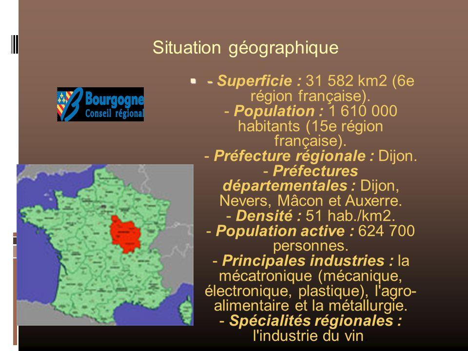 Situation géographique - - Superficie : 31 582 km2 (6e région française). - Population : 1 610 000 habitants (15e région française). - Préfecture régi