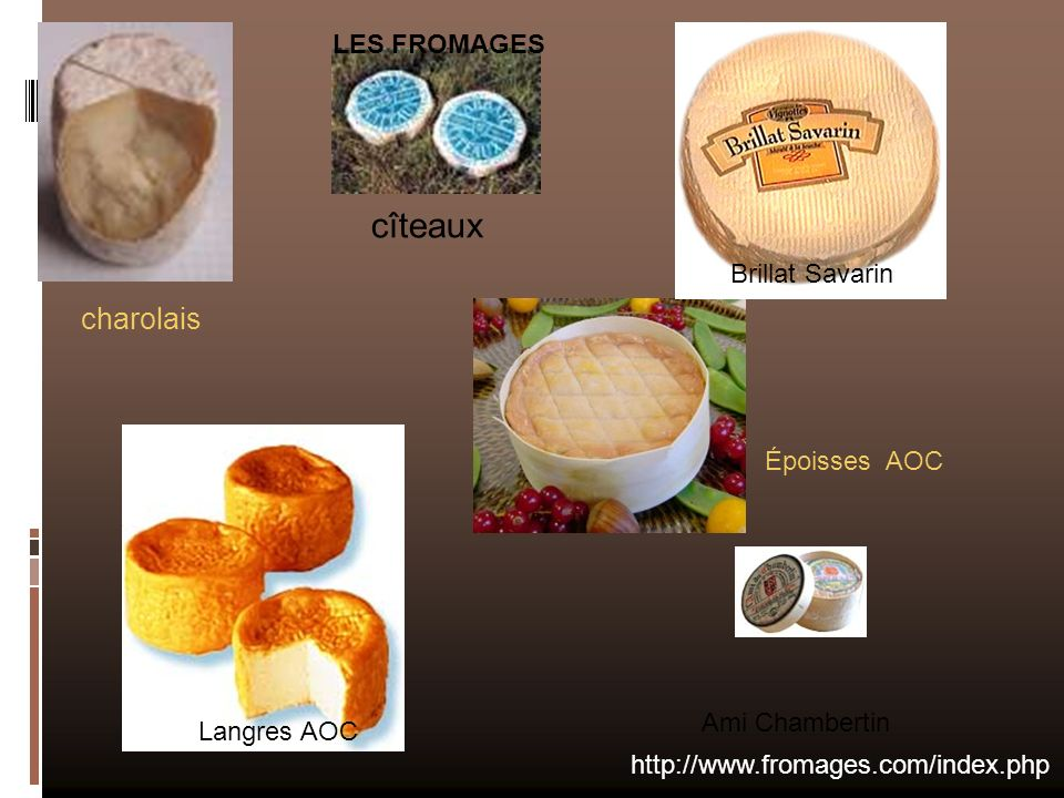 charolais http://www.fromages.com/index.php Ami Chambertin Langres AOC Brillat Savarin cîteaux Époisses AOC LES FROMAGES
