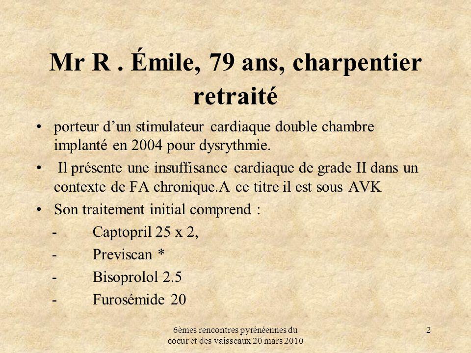 6èmes rencontres pyrénéennes du coeur et des vaisseaux 20 mars 2010 2 Mr R. Émile, 79 ans, charpentier retraité porteur dun stimulateur cardiaque doub