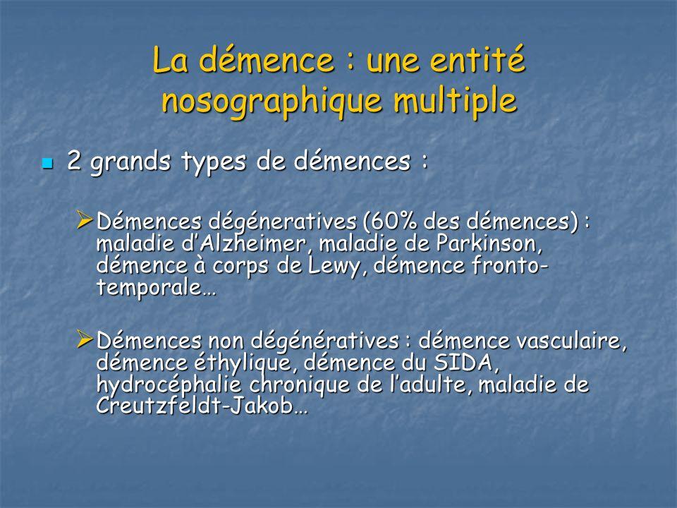 La démence : une entité nosographique multiple 2 grands types de démences : 2 grands types de démences : Démences dégéneratives (60% des démences) : m