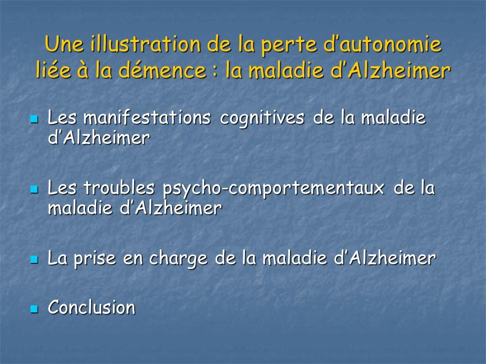 Une illustration de la perte dautonomie liée à la démence : la maladie dAlzheimer Les manifestations cognitives de la maladie dAlzheimer Les manifesta