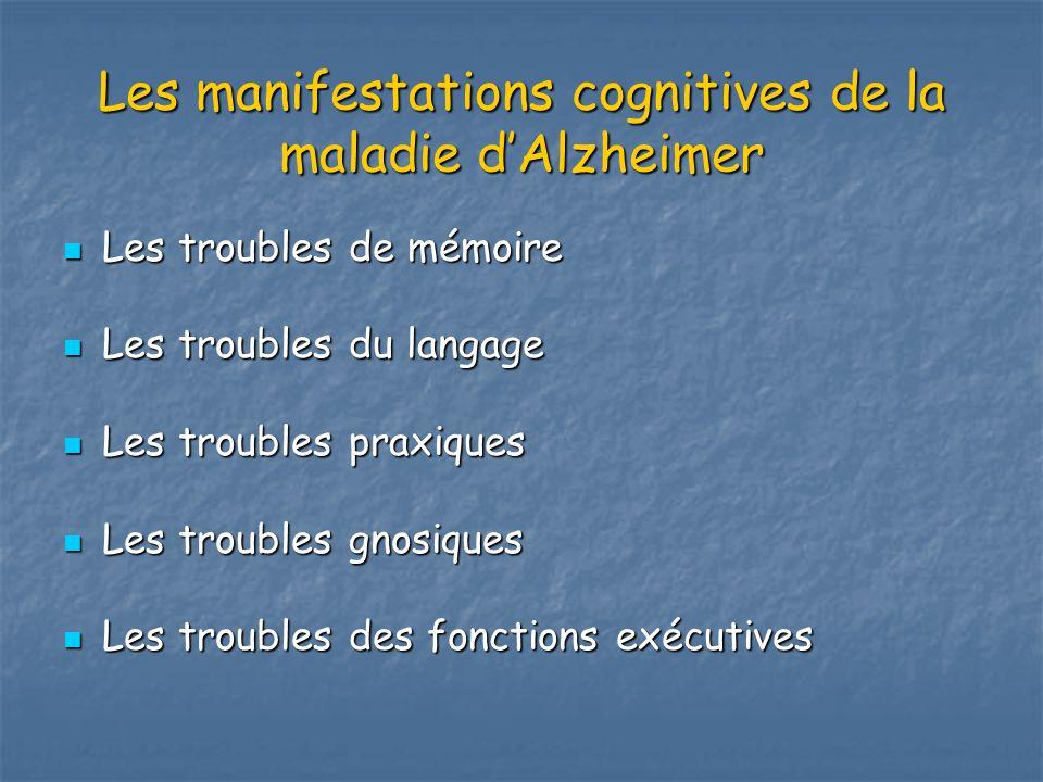 Les manifestations cognitives de la maladie dAlzheimer Les troubles de mémoire Les troubles de mémoire Les troubles du langage Les troubles du langage