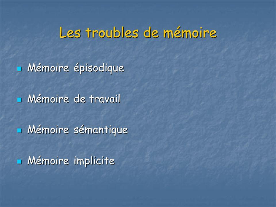 Les troubles de mémoire Mémoire épisodique Mémoire épisodique Mémoire de travail Mémoire de travail Mémoire sémantique Mémoire sémantique Mémoire impl