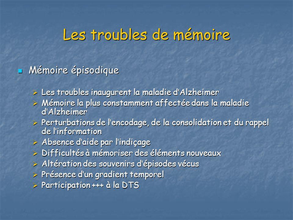 Les troubles de mémoire Mémoire épisodique Mémoire épisodique Les troubles inaugurent la maladie dAlzheimer Les troubles inaugurent la maladie dAlzhei