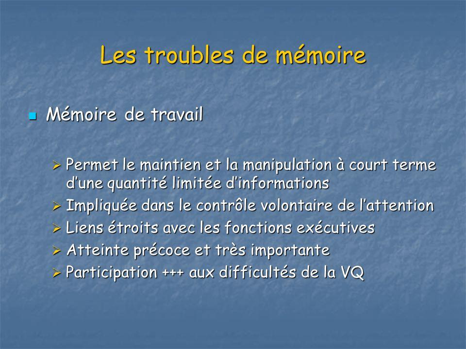 Les troubles de mémoire Mémoire de travail Mémoire de travail Permet le maintien et la manipulation à court terme dune quantité limitée dinformations