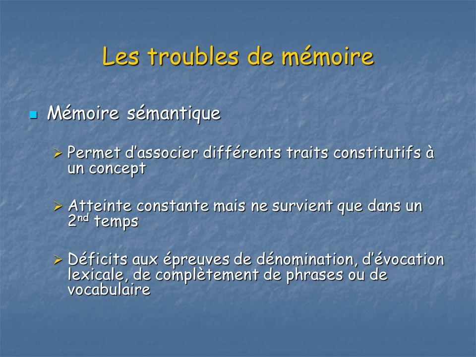 Les troubles de mémoire Mémoire sémantique Mémoire sémantique Permet dassocier différents traits constitutifs à un concept Permet dassocier différents
