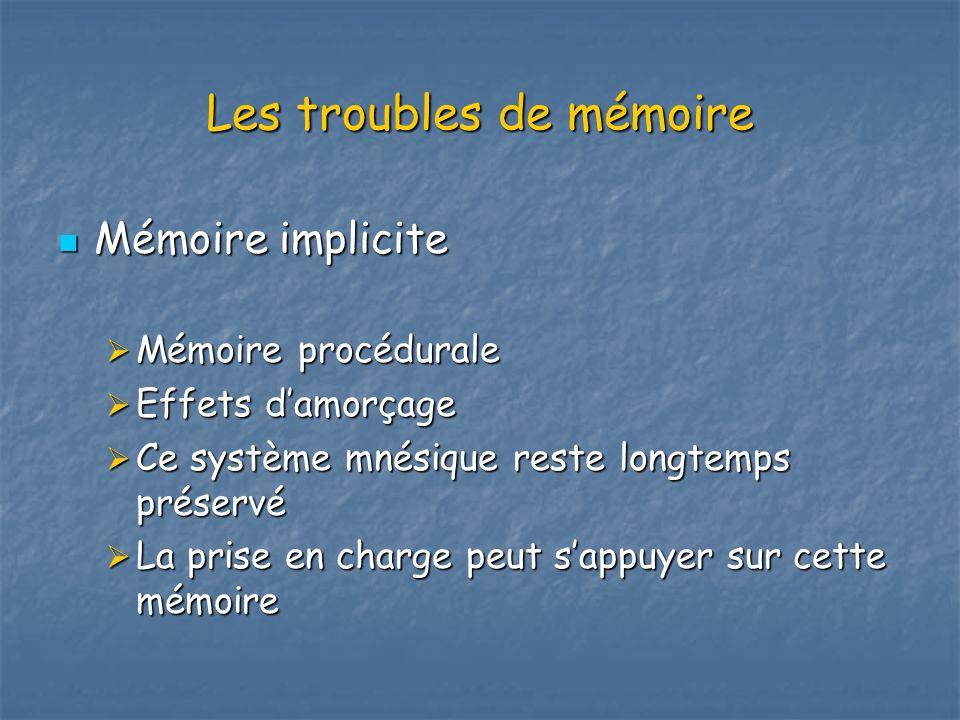 Les troubles de mémoire Mémoire implicite Mémoire implicite Mémoire procédurale Mémoire procédurale Effets damorçage Effets damorçage Ce système mnési