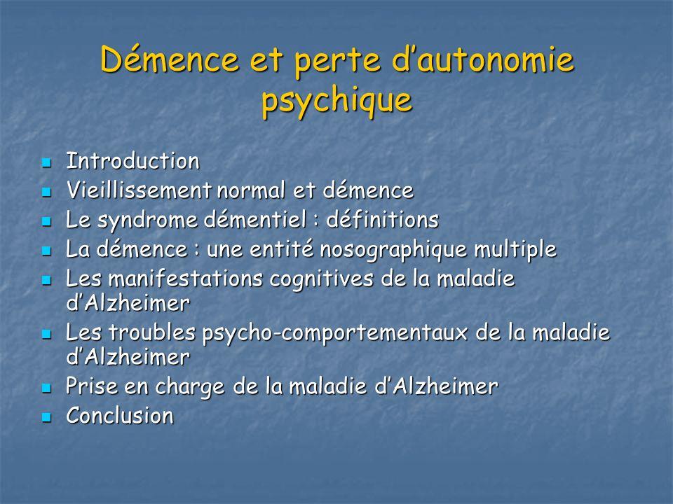 Démence et perte dautonomie psychique Introduction Introduction Vieillissement normal et démence Vieillissement normal et démence Le syndrome démentie