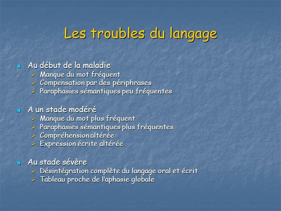 Les troubles du langage Au début de la maladie Au début de la maladie Manque du mot fréquent Manque du mot fréquent Compensation par des périphrases C