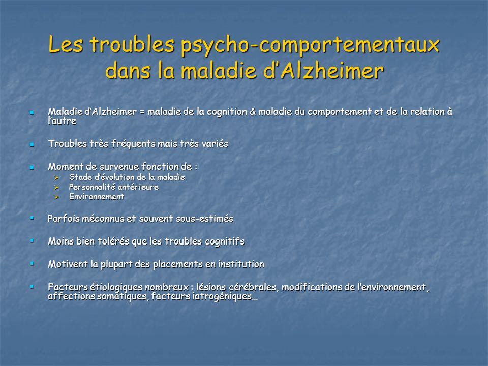 Les troubles psycho-comportementaux dans la maladie dAlzheimer Maladie dAlzheimer = maladie de la cognition & maladie du comportement et de la relatio