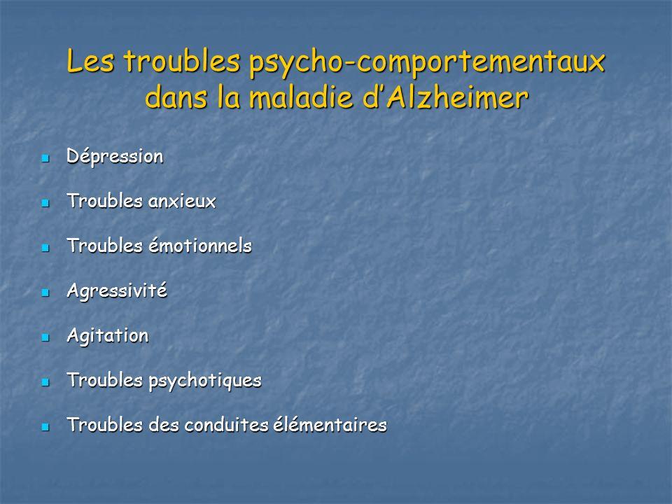 Les troubles psycho-comportementaux dans la maladie dAlzheimer Dépression Dépression Troubles anxieux Troubles anxieux Troubles émotionnels Troubles é