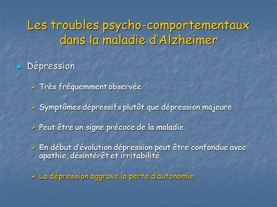 Les troubles psycho-comportementaux dans la maladie dAlzheimer Dépression Dépression Très fréquemment observée Très fréquemment observée Symptômes dép