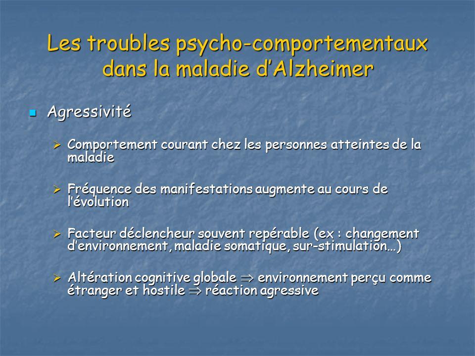Les troubles psycho-comportementaux dans la maladie dAlzheimer Agressivité Agressivité Comportement courant chez les personnes atteintes de la maladie