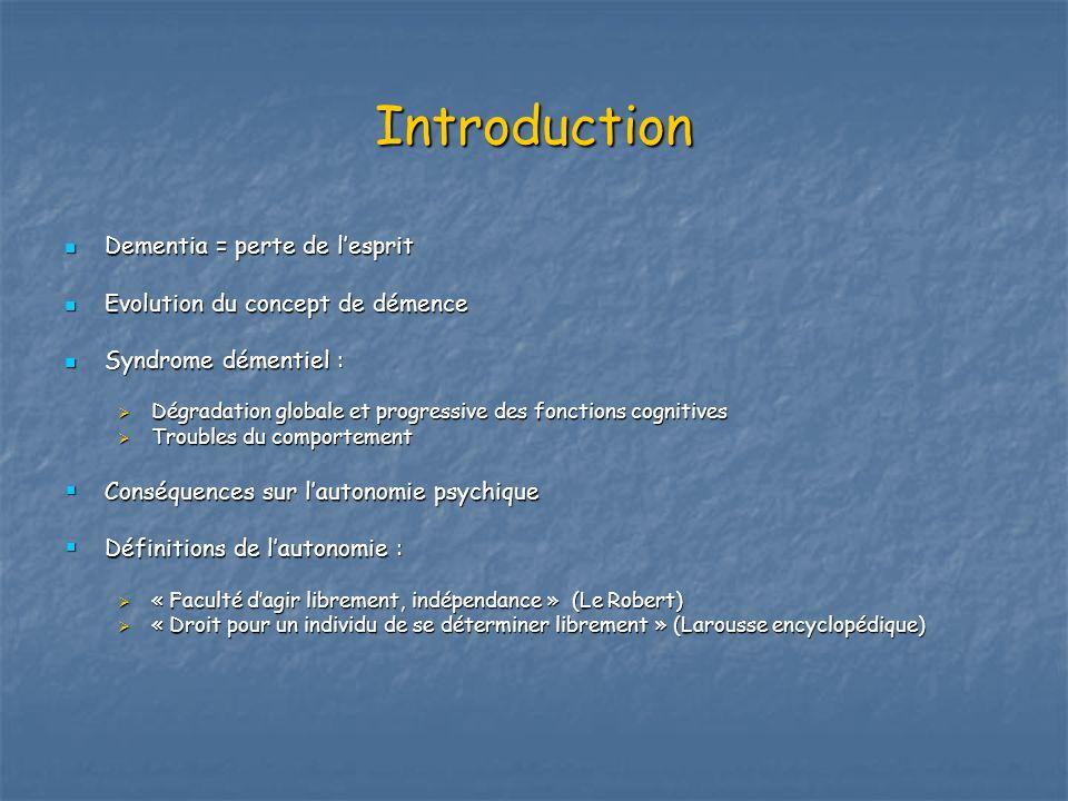 Introduction Dementia = perte de lesprit Dementia = perte de lesprit Evolution du concept de démence Evolution du concept de démence Syndrome démentie