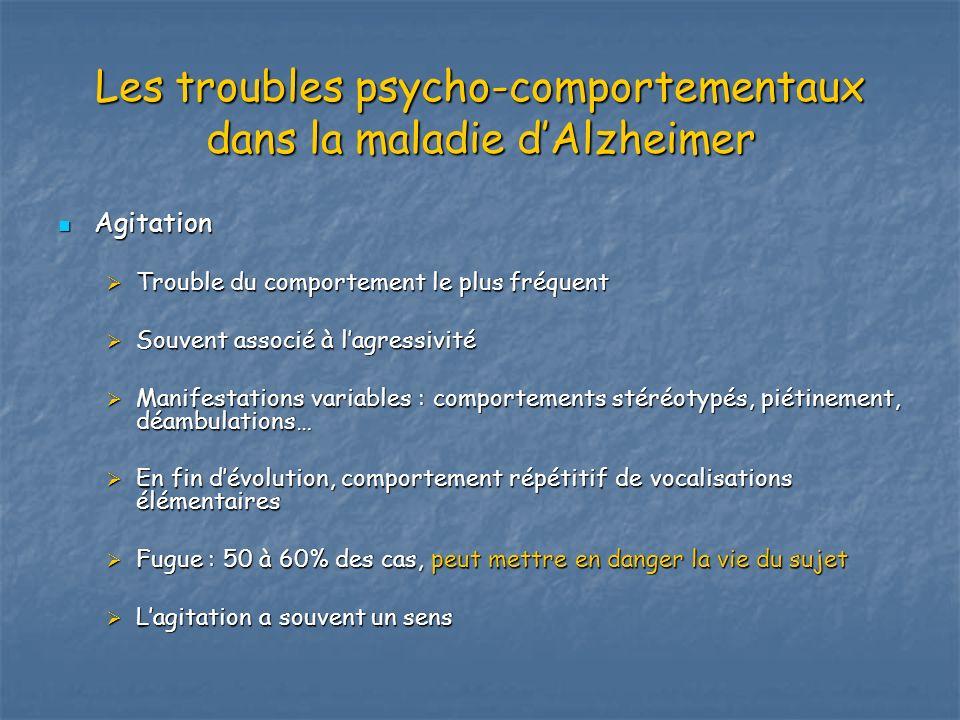 Les troubles psycho-comportementaux dans la maladie dAlzheimer Agitation Agitation Trouble du comportement le plus fréquent Trouble du comportement le