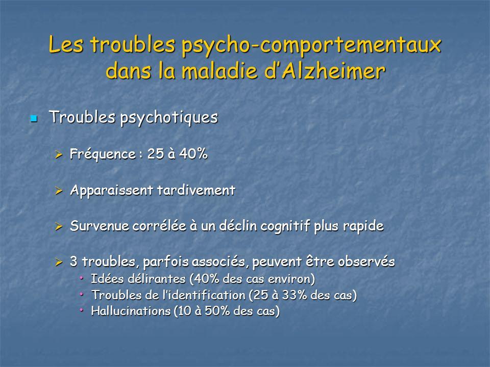 Les troubles psycho-comportementaux dans la maladie dAlzheimer Troubles psychotiques Troubles psychotiques Fréquence : 25 à 40% Fréquence : 25 à 40% A