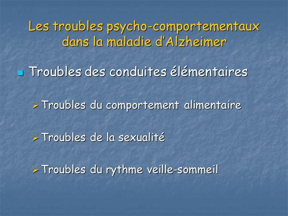 Les troubles psycho-comportementaux dans la maladie dAlzheimer Troubles des conduites élémentaires Troubles des conduites élémentaires Troubles du com