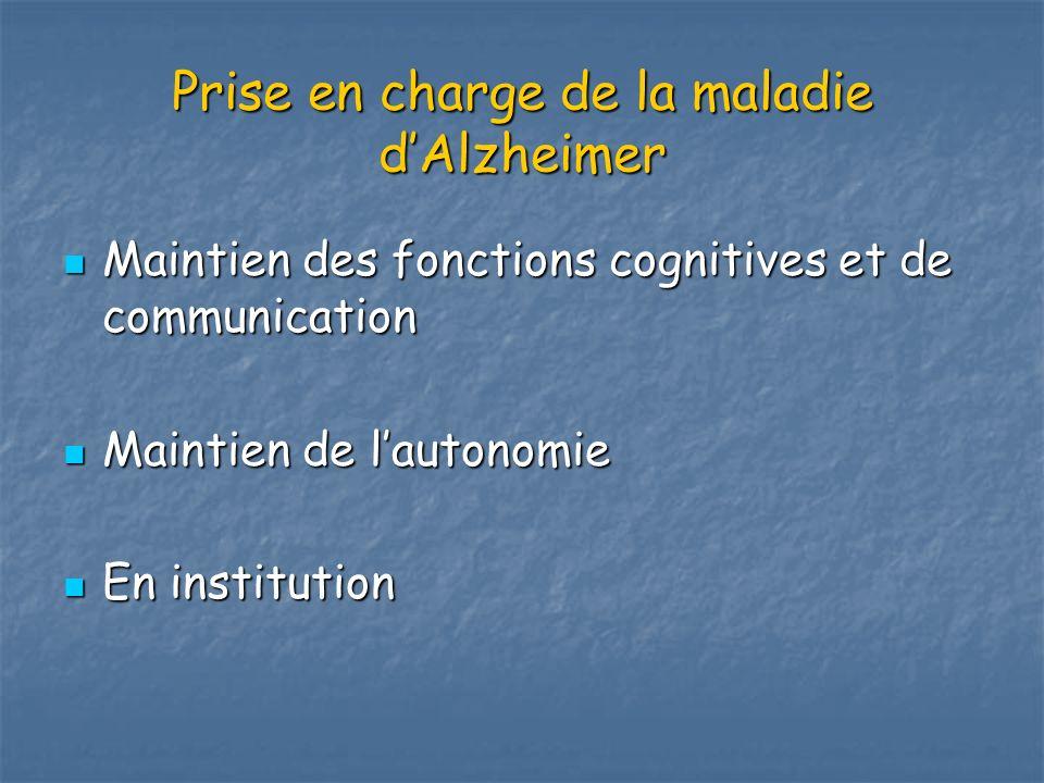 Prise en charge de la maladie dAlzheimer Maintien des fonctions cognitives et de communication Maintien des fonctions cognitives et de communication M