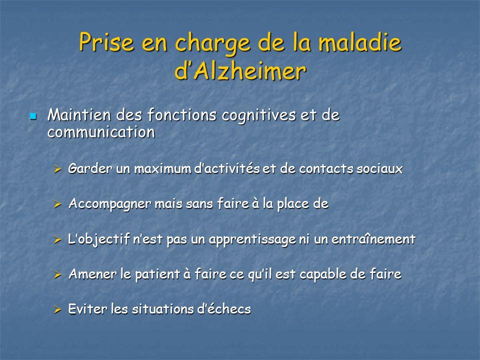 Prise en charge de la maladie dAlzheimer Maintien des fonctions cognitives et de communication Maintien des fonctions cognitives et de communication G