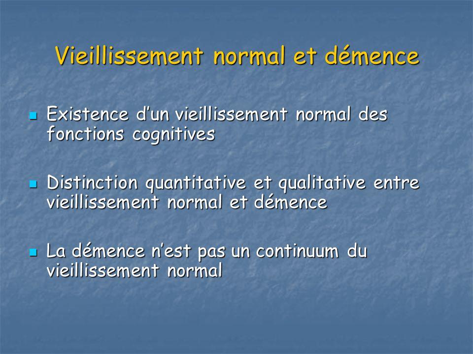 Vieillissement normal et démence Existence dun vieillissement normal des fonctions cognitives Existence dun vieillissement normal des fonctions cognit