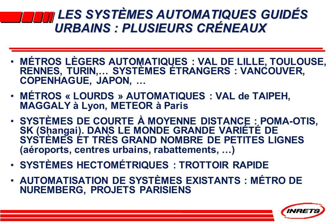 LES SYSTÈMES AUTOMATIQUES GUIDÉS URBAINS : PLUSIEURS CRÉNEAUX LES SYSTÈMES AUTOMATIQUES GUIDÉS URBAINS : PLUSIEURS CRÉNEAUX MÉTROS LÈGERS AUTOMATIQUES