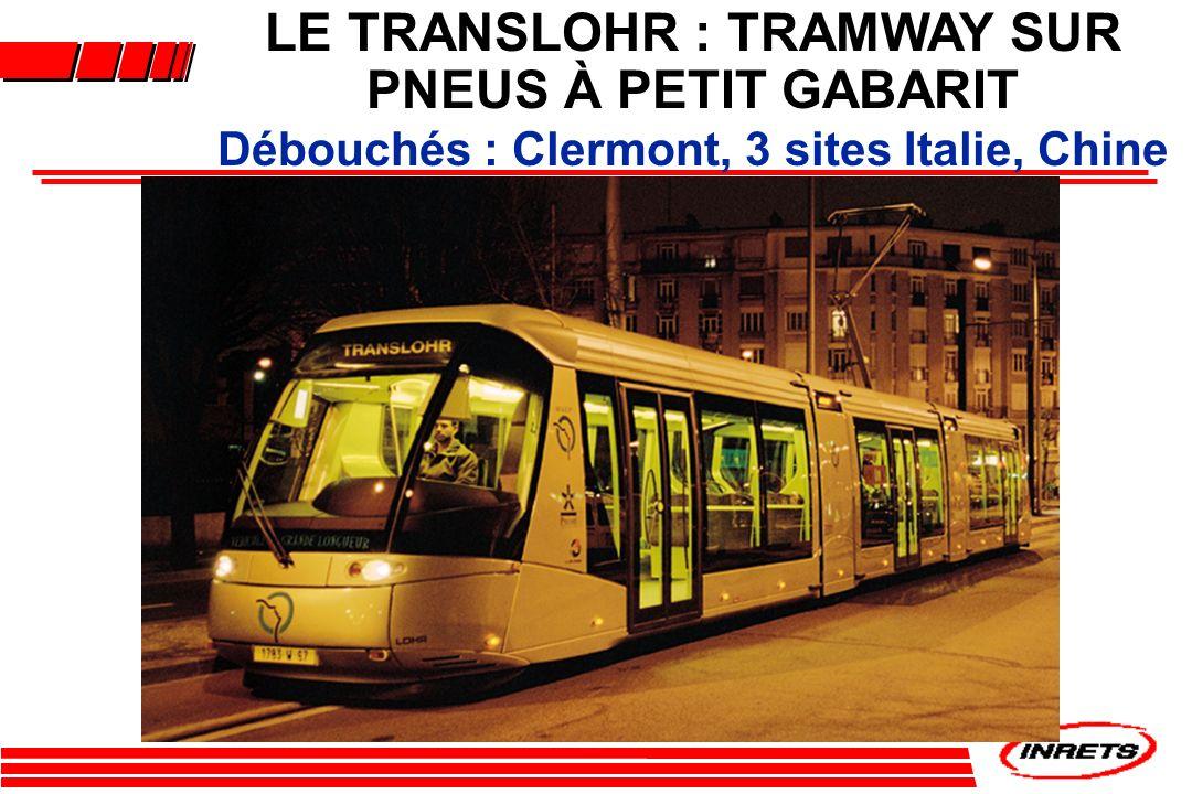 LE TRANSLOHR : TRAMWAY SUR PNEUS À PETIT GABARIT Débouchés : Clermont, 3 sites Italie, Chine