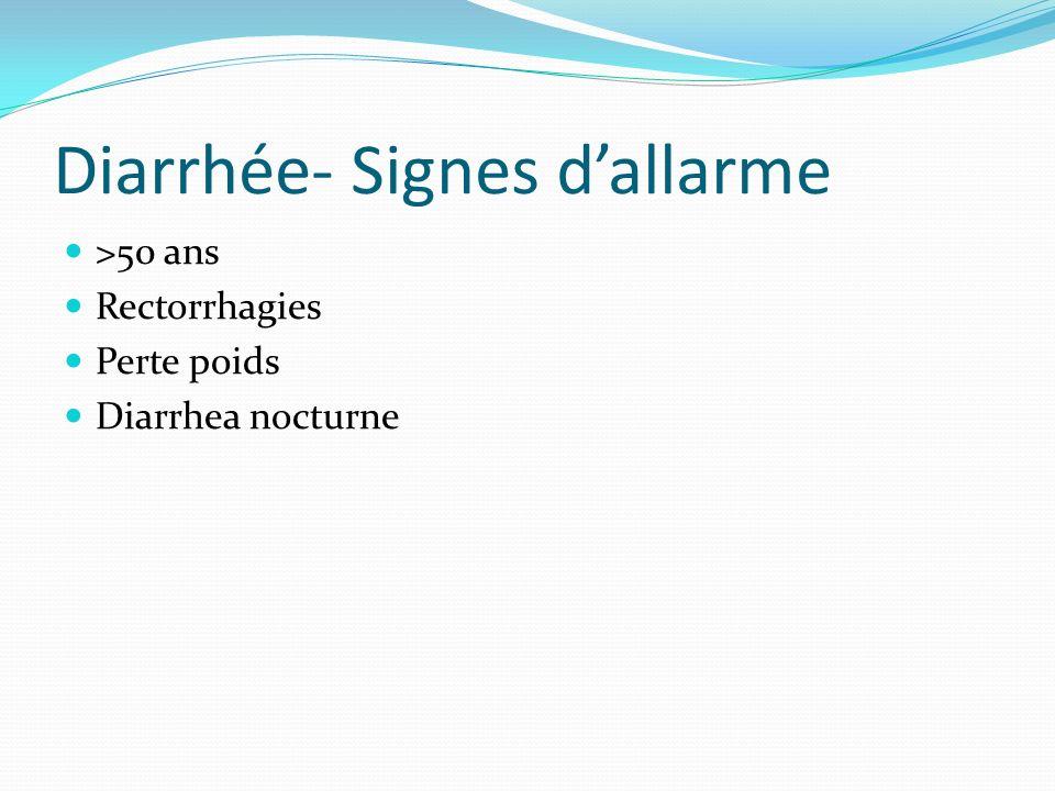 Diarrhée- Signes dallarme >50 ans Rectorrhagies Perte poids Diarrhea nocturne