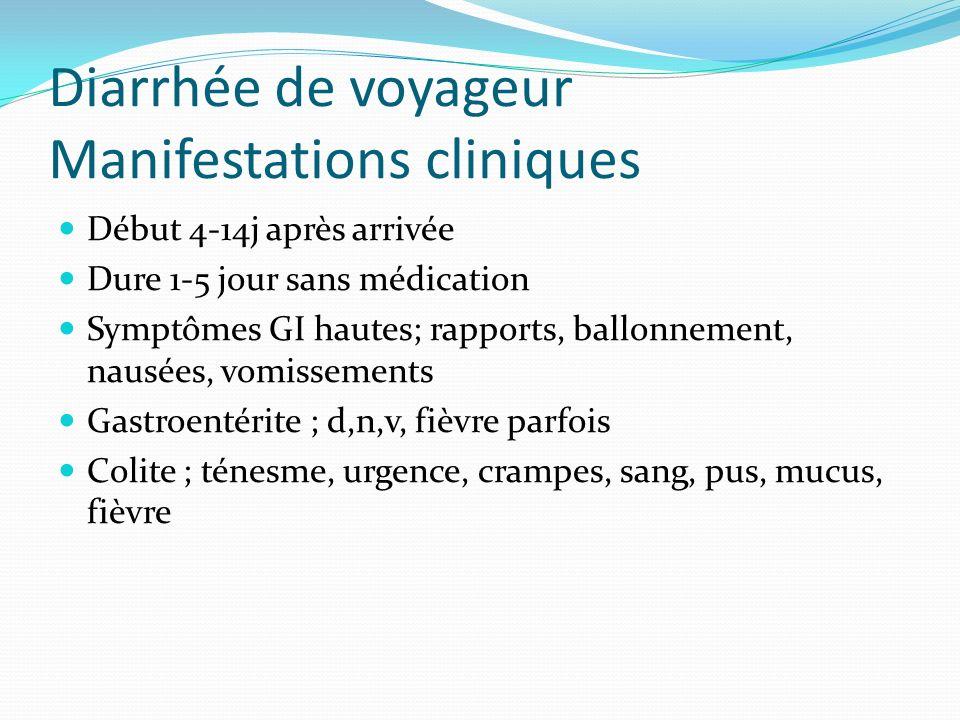Diarrhée de voyageur Manifestations cliniques Début 4-14j après arrivée Dure 1-5 jour sans médication Symptômes GI hautes; rapports, ballonnement, nau