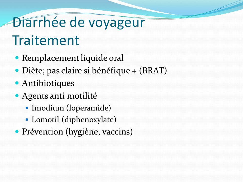 Diarrhée de voyageur Traitement Remplacement liquide oral Diète; pas claire si bénéfique + (BRAT) Antibiotiques Agents anti motilité Imodium (loperami