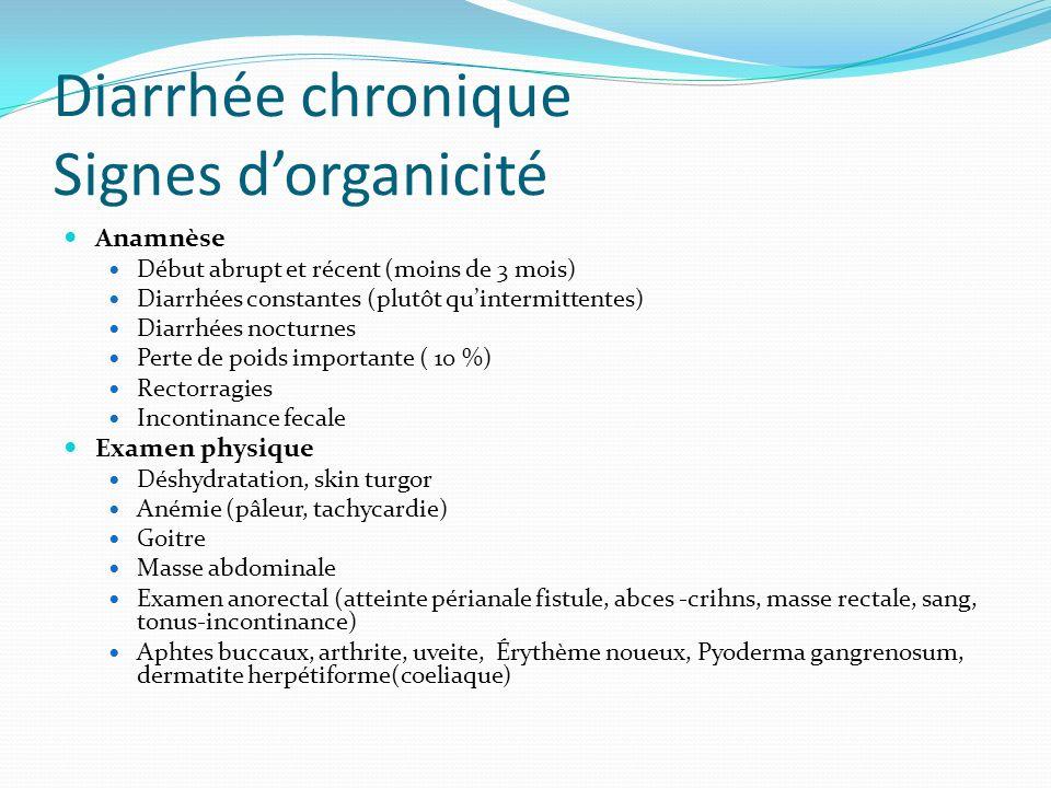 Diarrhée chronique Signes dorganicité Anamnèse Début abrupt et récent (moins de 3 mois) Diarrhées constantes (plutôt quintermittentes) Diarrhées noctu