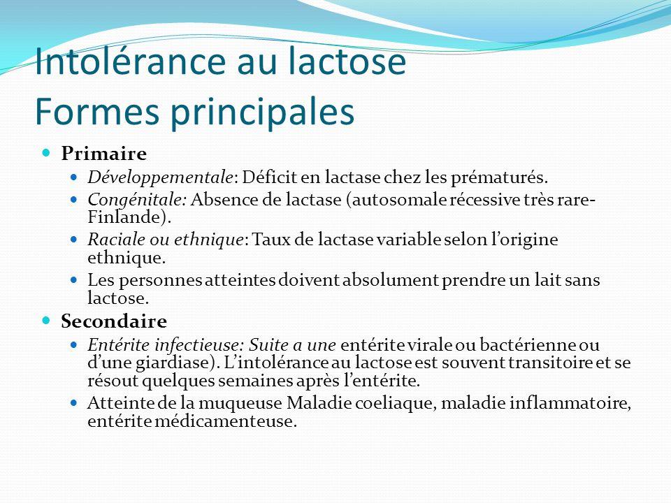 Intolérance au lactose Formes principales Primaire Développementale: Déficit en lactase chez les prématurés. Congénitale: Absence de lactase (autosoma