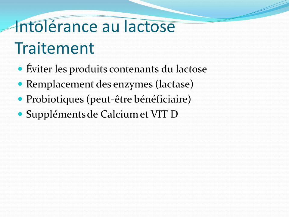 Intolérance au lactose Traitement Éviter les produits contenants du lactose Remplacement des enzymes (lactase) Probiotiques (peut-être bénéficiaire) S